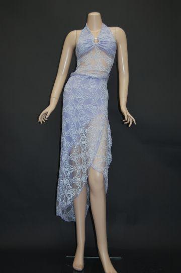 ウエストシースルーレース ミディアムドレス