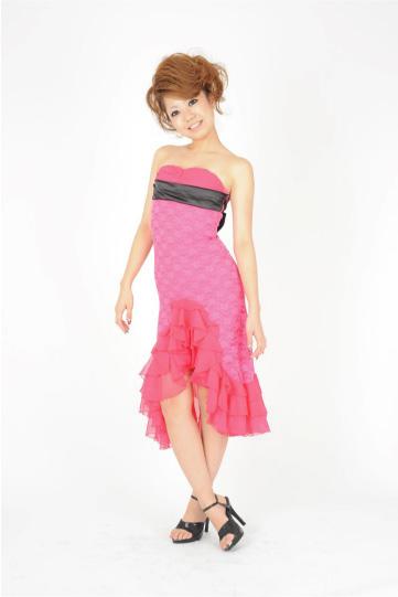 シフォンフリル嬢 チェリーピンク ミディアムドレス