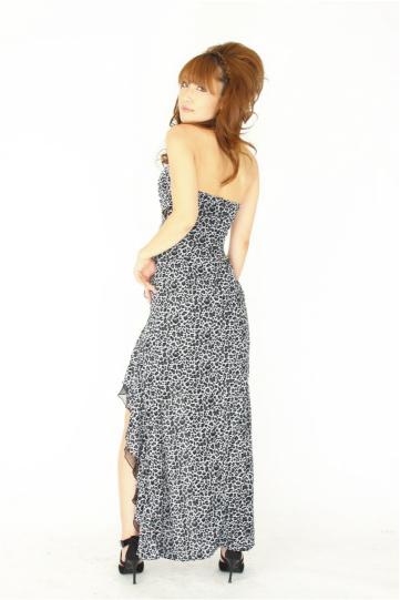 豹柄sexyフリルスリット ロングドレス