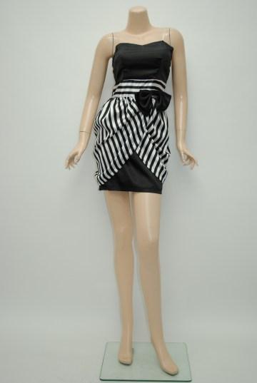 リボンサテンボーダー ショートドレス