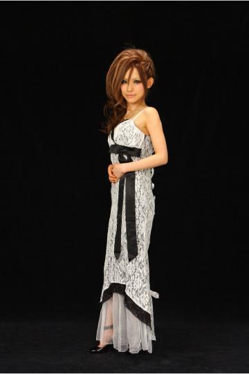 リボン付☆バックスピンドルレース ロングドレス