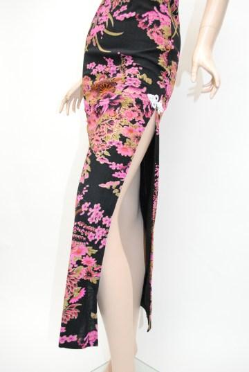 雫型ホルター両面和柄 ロングドレス