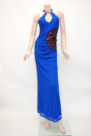 扇子スパンコールチャイナ ロングドレス