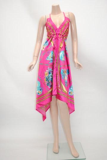 サテンスカーフ柄 ミディアムドレス