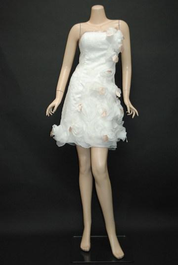 花びらレース ホワイト ショートドレス 9号