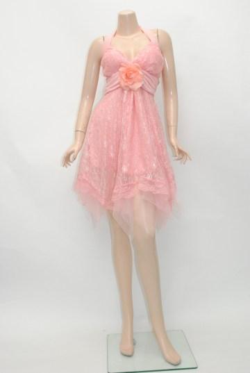 総レースパステルカラー ミディアムドレス