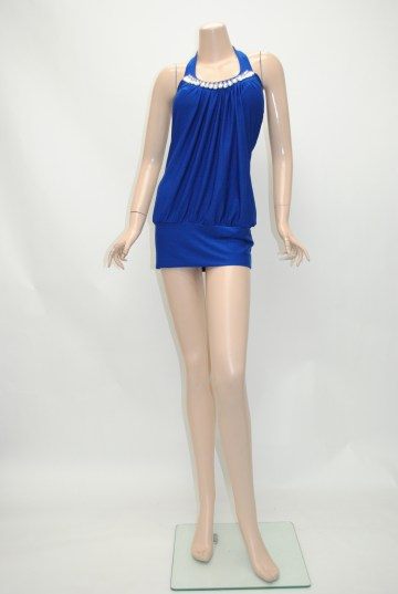 ホルター ブルー ショートドレス