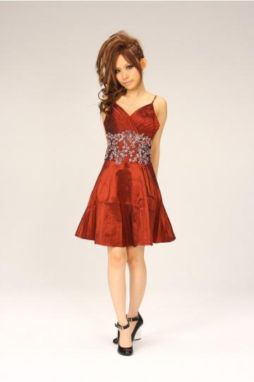 glossオリジナル 小花柄刺繍ウエスト ショートドレス
