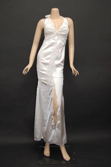 サテンシンプルレース使い ロングドレス