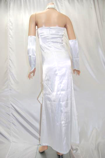 首つきエレガント花刺繍 ロングドレス