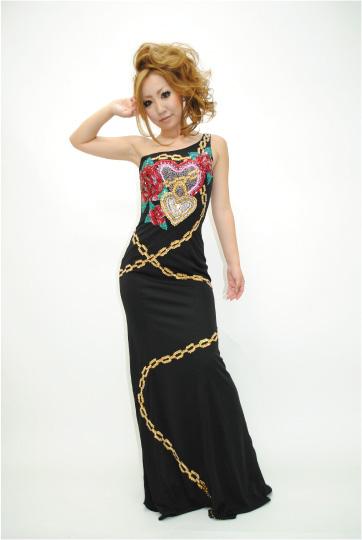 チェーン&ローズスパン ロングドレス