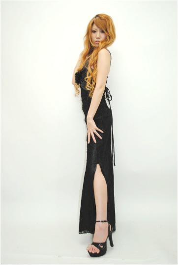 コサージュ付き☆バッククロススピンドル ロングドレス