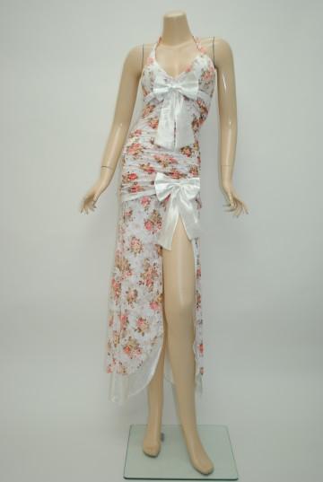 サテンリボン☆花柄フロントスリットホワイト ロングドレス