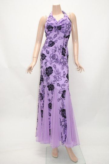 ホルター パープル ロングドレス