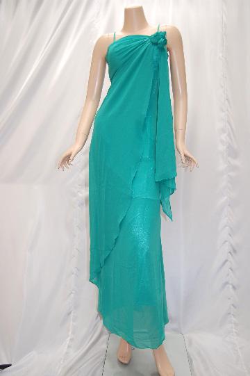 三つバラ・フリルシフォン・ロングドレス