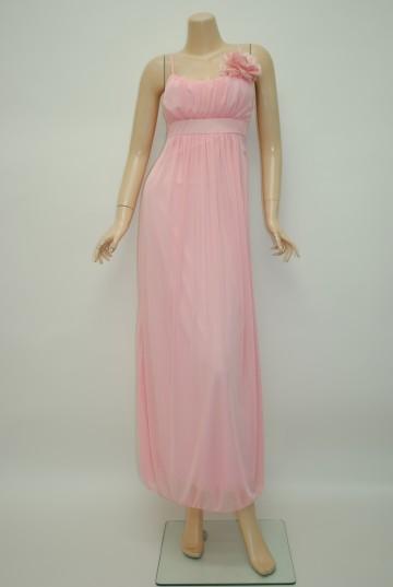 ふんわりシフォン ピンク ロングドレス