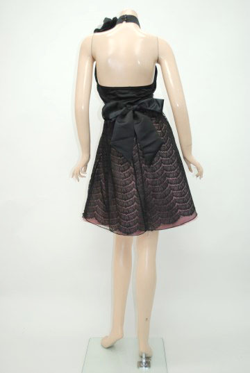 バックサテンリボンコサージュ ショートドレス