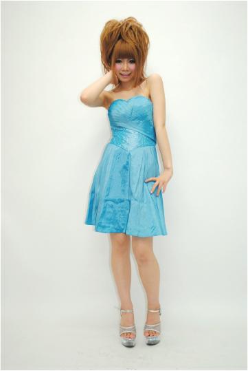 glossオリジナル 裾プリーツベア ショートドレス