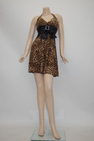 バックルリボン豹 ブラウン ショートドレス