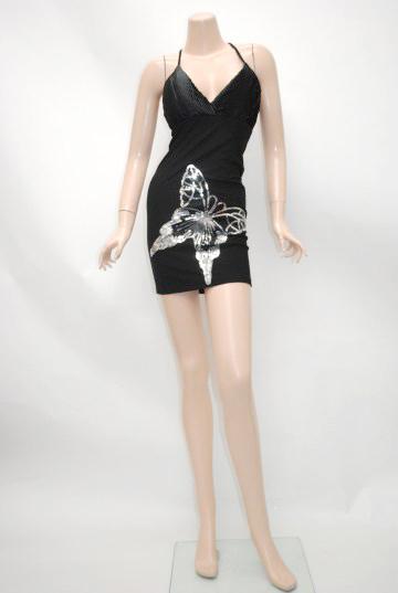 胸元サテンポイントバタフライ ショートドレス
