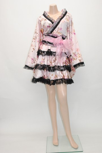 花柄&レース着物風 ショートドレス