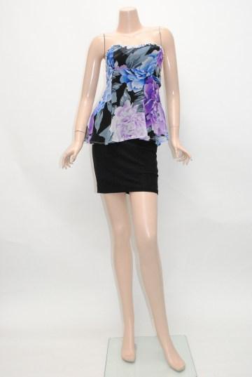 パール付き花柄シフォン ショートドレス