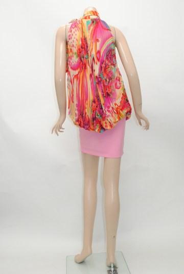 トロピカルシフォンプリーツ ショートドレス