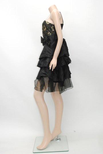 金糸入り3段フリル ショートドレス
