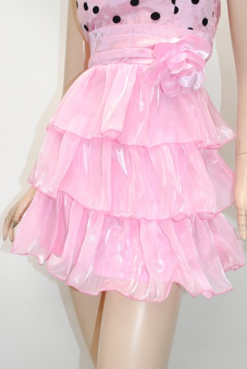 水玉柄ベアトップ オーガンジー ティアード ショートドレス