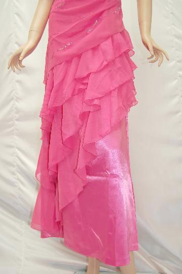 スパンコール付ベアトップ ピンクロング ドレス