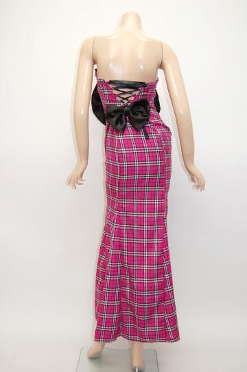 胸元デカリボンサテンチェック ロングドレス