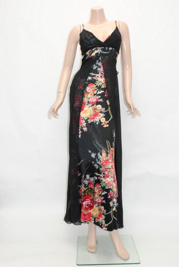 バックふりふり和柄 ロングドレス