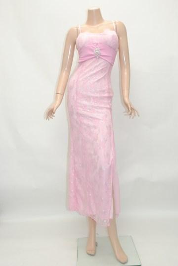 胸元切り替えアクセ付き ロングドレス