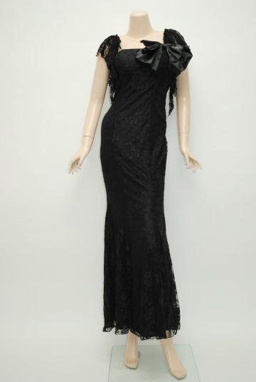 リボンバックスピンドル ブラック ロングドレス