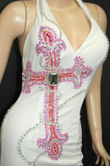 スパンコールチェーン&クロス ロングドレス