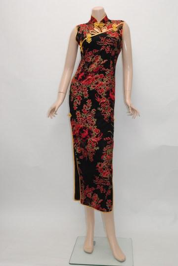 花車ゴールドパイピング ブラック ロングドレス