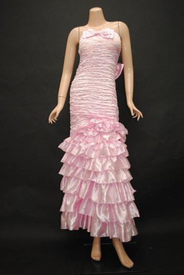 Wリボンフリフリティアード ロングドレス