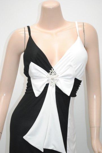 ダブルカラー配色セクシー ロングドレス