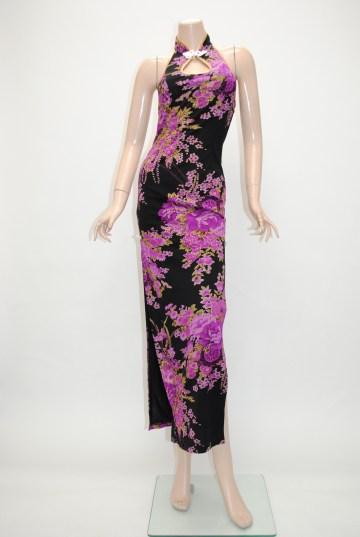 ブラック×パープル ロングドレス