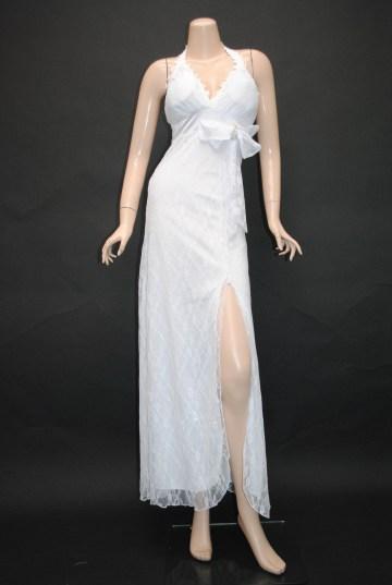 花柄レースセクカワ ロングドレス