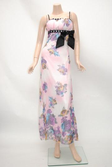 花柄スプリング ロングドレス