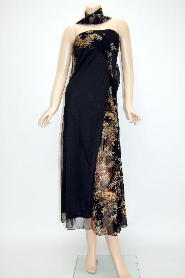キラキラ和柄ベアスリットショール付き ロングドレス