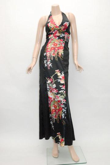 リボンフリル付き ロングドレス