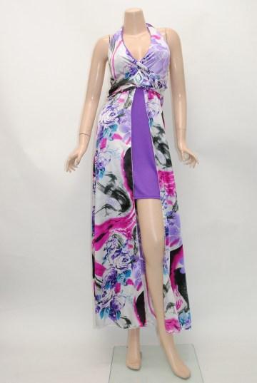 サテン鮮やか花柄 ロングドレス