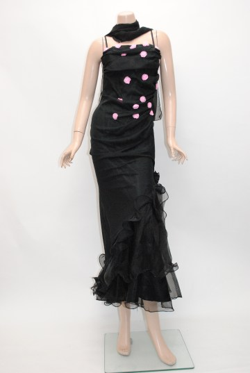 小花ロマンティック シフォン ロングドレス