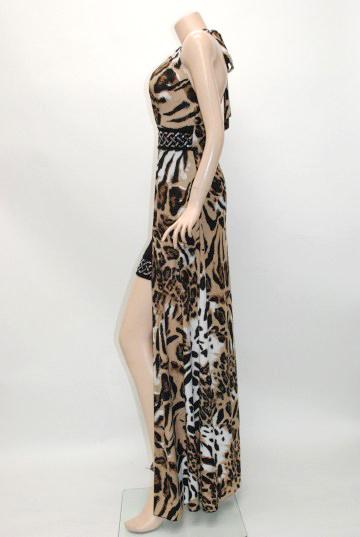 オーバースカート風 豹柄 ロングドレス