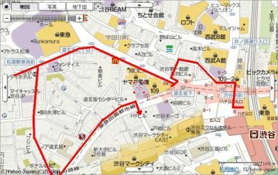 shibuya map route