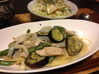 Jly18_野菜と鶏肉の塩味パスタ
