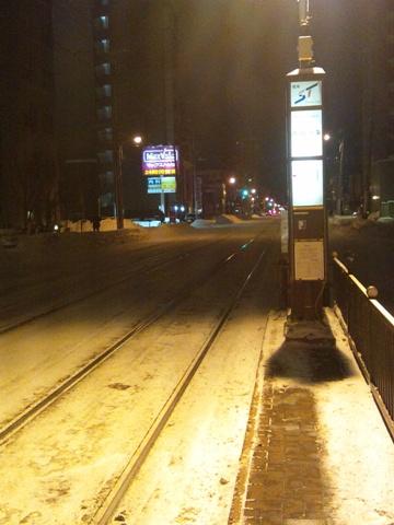 さみしい電停(2012.12.27)