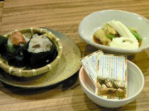 斎藤のお気に入り豆冨(天ぷら添え)&龍之介の握り飯